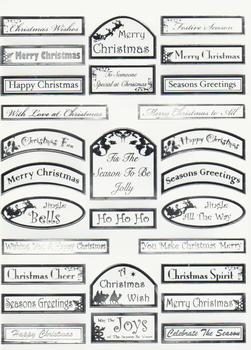 Xmas - 28 Silver Letters White Background Die Cut Captions 675 t  Die-cut captions