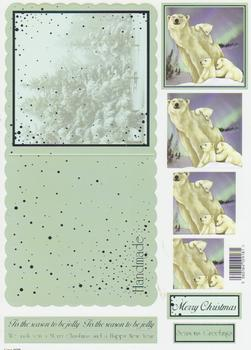 Die Cut Sheet - Polar Bear Family - Including Free Envelope 928 X papertole.co.uk