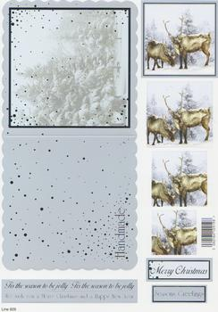 Die Cut Sheet - Reindeer Couple - Including Free Envelope *929  t Silver Foil Highlights
