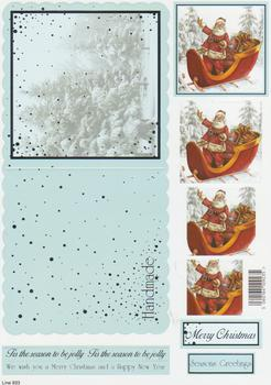 Die Cut Sheet - Santa in his Sleigh - Including Free Envelope 933   . papertole.co.uk