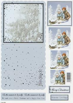 Die Cut Sheet - Sledging- Including Free Envelope 934 ** t Silver Foil Highlights