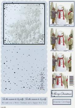 Die Cut Sheet - Dressing Snowman - Including Free Envelope 935 t Silver Foil Highlights