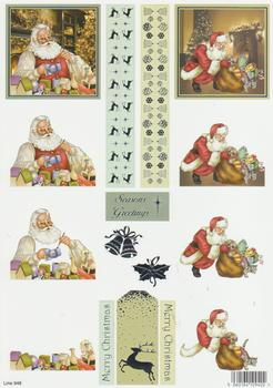 Die Cut - Its a busy time for Santa Painting and Delivering Presents 948 . Silver Foil Highlights