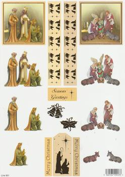 Die Cut - Religious Theme Three Kings & Baby Jesus 951 . papertole.co.uk