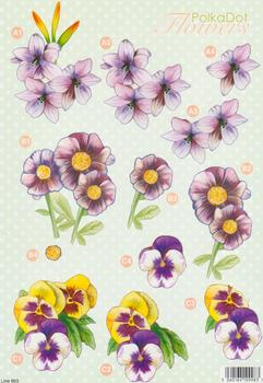 Floral Die-Cut **Polka Dot Range**  Spring Flowers - line993 - 2 papertole.co.uk