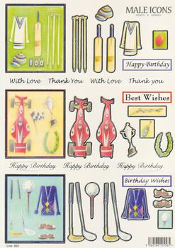 Die Cut - Male Icons -**3 Themes with Captions** Cricket, Motor Racing & Golf  Line 652 . www.papertole.co.uk