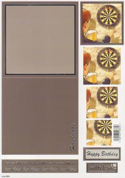 Male Die Cut Concept Card - Darts Theme - Line 894 g www.papertole.co.uk