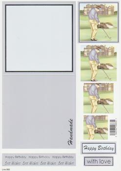 Golfer  - Card, FREE Envelope and Foiled Caption 892 . www.papertole.co.uk