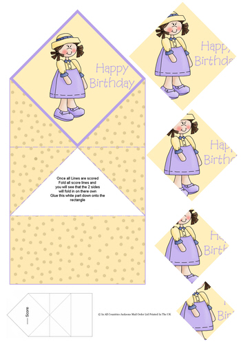 Diamond Fold Card - Happy Birthday / Girl 3d Card Art RRP 75p