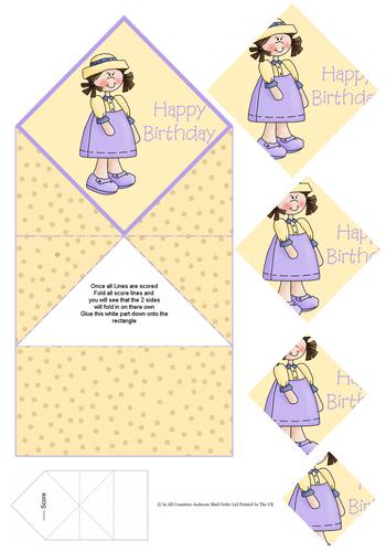 Diamond Fold Card - Happy Birthday / Girl 3d Card Art RRP 75p