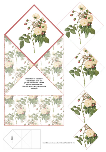 Diamond Fold Card - Flowers 2 3d Card Art RRP 75p