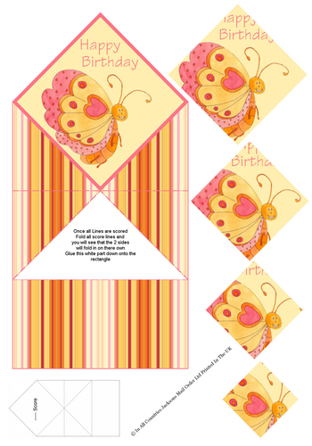 Diamond Fold Card - Birthday Butterfly 3d Card Art RRP 75p
