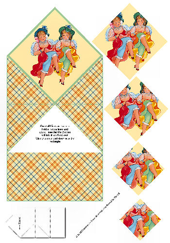 Diamond Double Fold Card - Fun Girls 3d Card Art RRP 75p