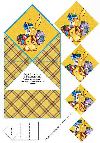 Diamond Double Fold Card - Baby Bunny 3d Card Art RRP 75p