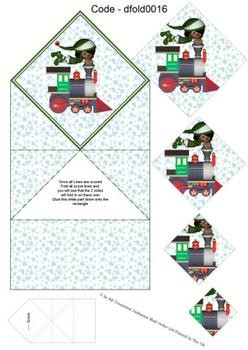 Diamond Double Fold Card - Christmas Train 3d Card Art RRP 75p