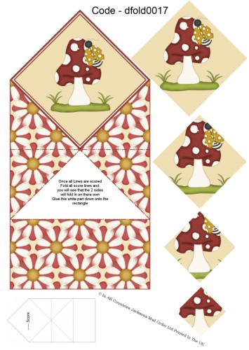Diamond Double Fold Card - The Mushroom and The Ladybird 3d Card Art RRP 75p