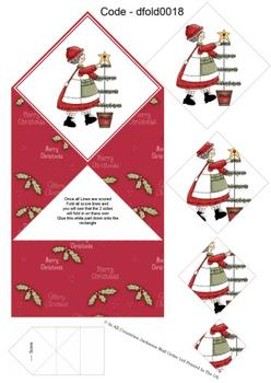 Diamond Double Fold Card - Decorating The Christmas 3d Card Art RRP 75p