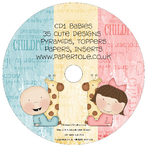 CD 1 - Babies 35 Designs, Pyramids, Toppers, Papers - Inserts Media RRP £14.99