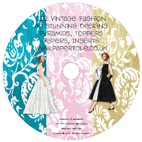 CD 2 - Vintage Fashion, 40 Designs, Pyramids, Toppers, Papers - Inserts Media RRP £14.99