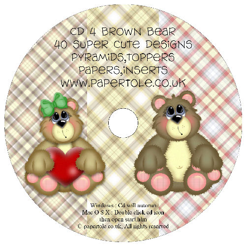 CD 4 - Brown Bear 40 Designs, Pyramids, Toppers, Papers - Inserts Media RRP £14.99