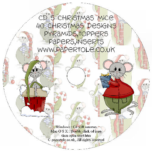 CD 5 - Christmas Mouse, 40 Designs, Pyramids, Toppers, Papers - Inserts Media RRP £14.99