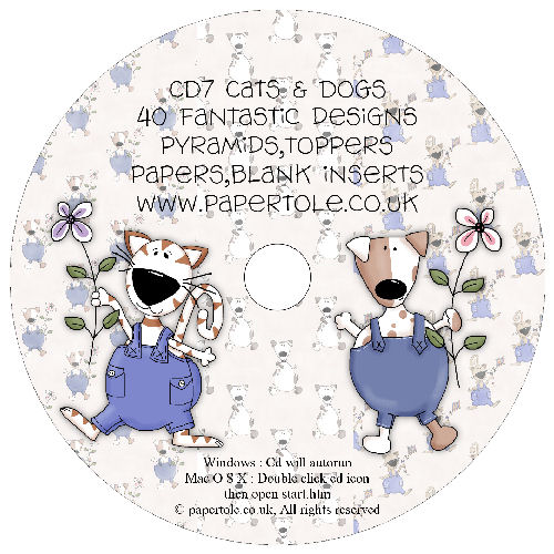 CD 7 - Cats & Dogs - 40 Designs, Pyramids, Toppers, Papers - Inserts Media RRP £14.99