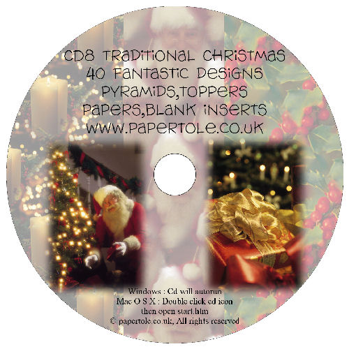 CD 8 - Traditional Christmas, 40 Designs, Pyramids, Toppers, Papers - Inserts Media RRP £14.99