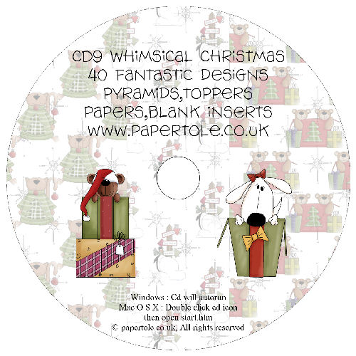 CD 9 - Whimsical Christmas, 40 Designs, Pyramids, Toppers, Papers - Inserts Media RRP £14.99
