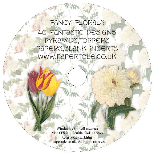 CD 10 - Floral - 40 Designs, Pyramids, Toppers, Papers - Inserts Media RRP £14.99