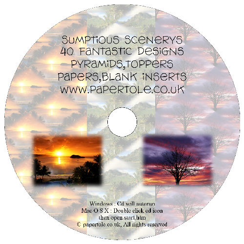 CD 11 - Sumptuous Sceneries, 40 Designs, Pyramids, Toppers, Papers - Inserts Media RRP £14.99
