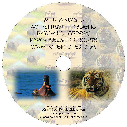CD 12 - Wild Animals, 40 Designs, Pyramids, Toppers, Papers - Inserts Media RRP £14.99