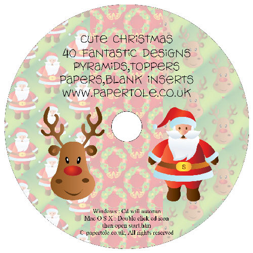 CD 13 - Cute Christmas - 40 Fantastic Designs, Pyramids, Toppers, Papers - Inserts Media RRP £14.99