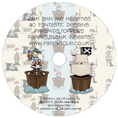CD 15 - Ahh ahh Me Hearties - 40 Fantastic Designs, Pyramids, Toppers, Papers - Inserts Media RRP £14.99