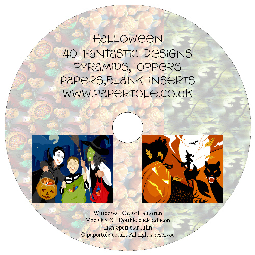 CD 16 - Halloween - 40 Fantastic Designs, Pyramids, Toppers, Papers - Inserts Media RRP £14.99