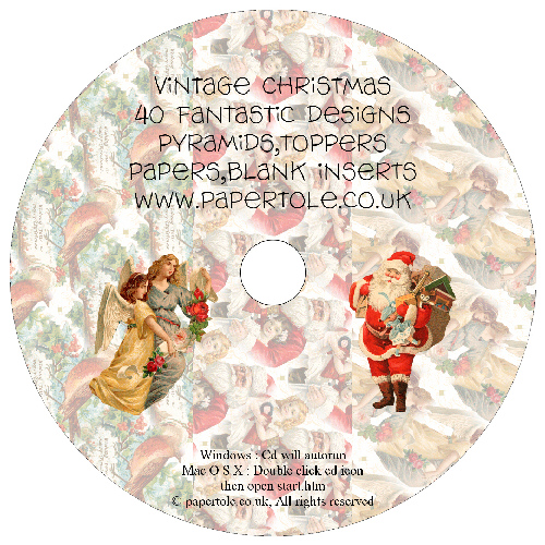 CD 17 - Vintage Christmas - 40 Fantastic Designs, Pyramids, Toppers, Papers - Inserts Media RRP £14.99
