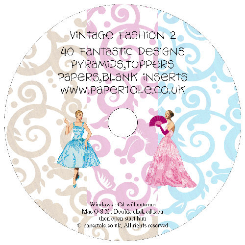 CD 19 -Vintage Fashion 2 - 40 Fantastic Designs, Pyramids, Toppers, Papers - Inserts Media RRP £14.99