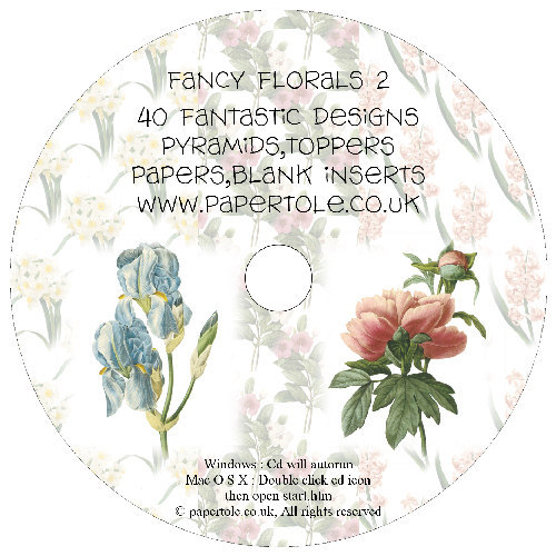 CD 20 - Fancy Florals 2 - 40 Fantastic Designs, Pyramids, Toppers, Papers - Inserts Media RRP £14.99