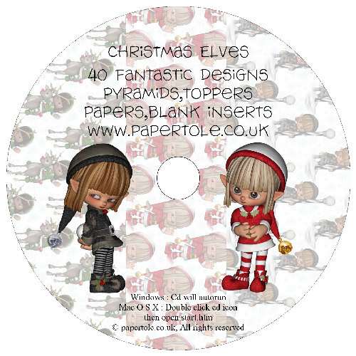 CD 21 - Christmas Elves - 40 Fantastic Designs, Pyramids, Toppers, Papers - Inserts Media RRP £14.99