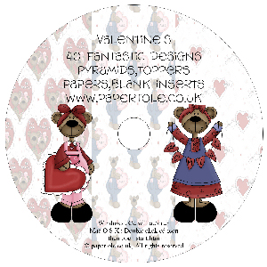 CD 22 - Valentines - 40 Fantastic Designs, Pyramids, Toppers, Papers - Inserts Media RRP £14.99