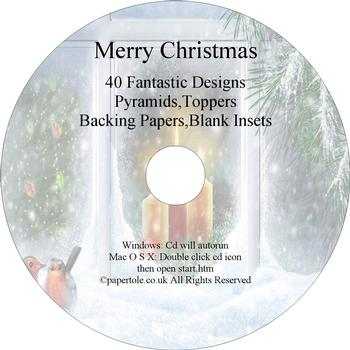 cd 23 - Merry Christmas - 40 Fantastic Designs Pyramids, Toppers, Backing papers, Blank Inserts . FANTASTIC OFFER!!!