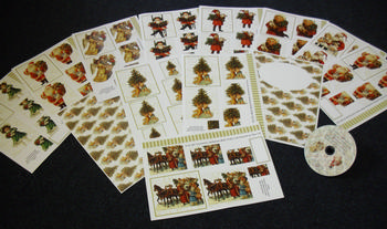 CD 17 - Vintage Christmas - 40 Fantastic Designs, Pyramids, Toppers, Papers - Inserts . JMO