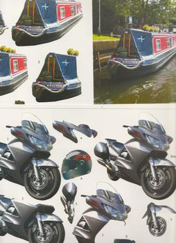 Die Cut Pack of 2 ***Photopics - Racing Bike & Boat / Barge . -