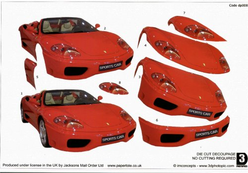 Die Cut Step by step Photopics - Red Sports Car - OUT OF STOCK Die Cuts PAPERTOLE.CO.UK