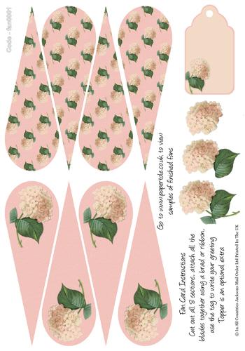 Fan Card -Pink Floral Fan 3d Card Art RRP 85p