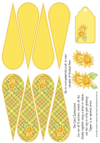 Fan Card - Sunflowers 3d Card Art papertole.co.uk