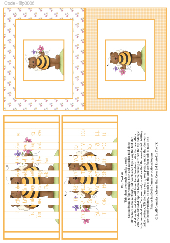 Flip Card - Bubble Bee Bear 3d Card Art RRP 75p