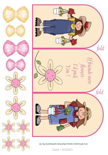 Tri Fold Card - If Friends Were Flowers I'd pick you 3D Card Art RRP 75p