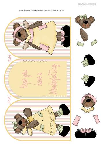 Tri Fold Cards - Teddy Birthday 3D Card Art RRP 75p