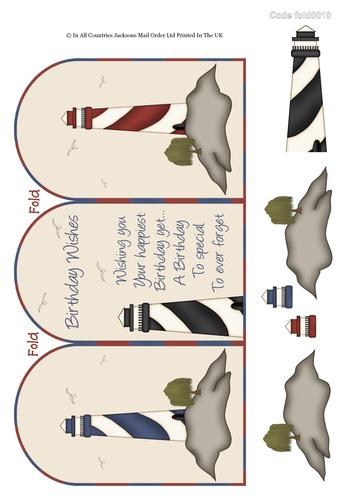 Tri Fold Cards - Light Houses 3D Card Art RRP 75p