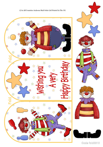 Tri Fold Cards - Birthday Clowns 3D Card Art RRP 75p